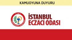 İstanbul Eczacı Odasından Kamuoyuna Duyuru