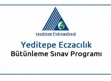 Yeditepe Eczacılık Bütünleme Sınav Programı 2015